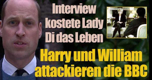 """Skandal-Interview von Lady Di: """"Hat sie das Leben gekostet!"""" Harry und William attackieren die BBC"""