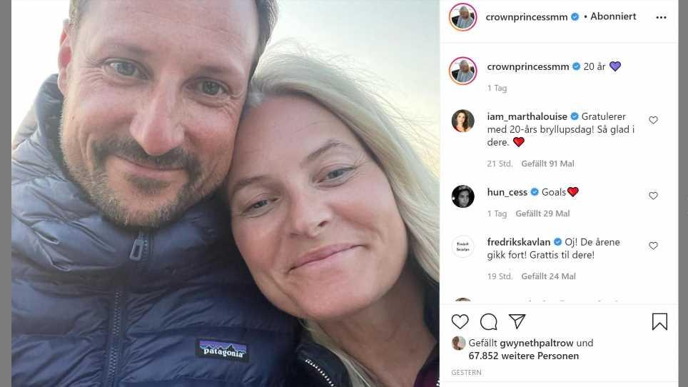 Mette-Marit von Norwegen feiert 20. Hochzeitstag mit ungeschminktem Schnappschuss